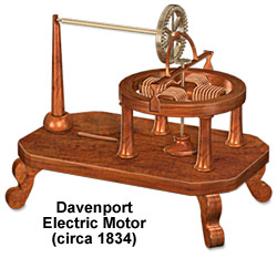 изобретатель Вермонт Томас Дэвенпорт создал первый электрический мотор